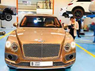 Bentley Bentayga Being Serviced At Bentley Repair Workshop In Dubai