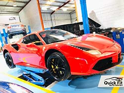 Ferrari 488 Spider Getting AC And Brakes Service At Quick Fit